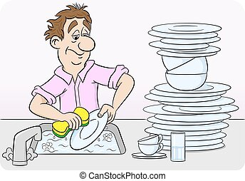 man is washing up dishes - vector illustration of a man who...