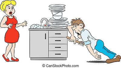 man is washing the dishes in despair - vector illustration...