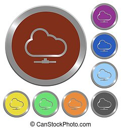 Color cloud network buttons - Set of color glossy coin-like...