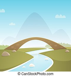 Landscape With Stone Bridge - Cartoon illustration of...