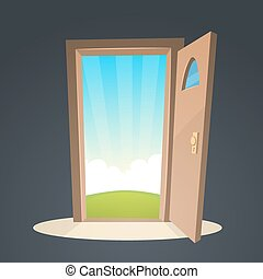 Open Door - Cartoon illustration of the open door and a view...