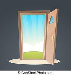 Open Door - Cartoon illustration of the open door and a view...
