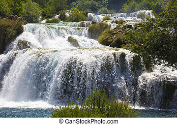 Waterfalls Krka - National Park Waterfalls Krka in Dalmatia...