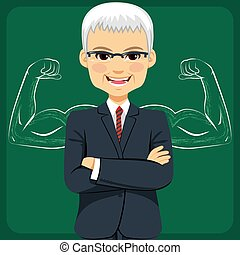 Senior Businessman Strong Arms Concept - Senior businessman...