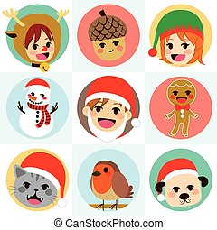 Christmas Round Avatar Characters - Flat color style...