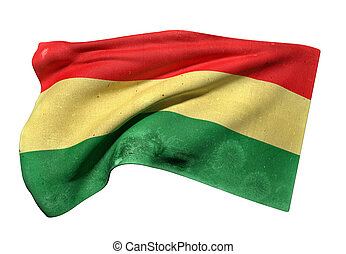 Bolivia flag waving - 3d rendering of an old and dirty...