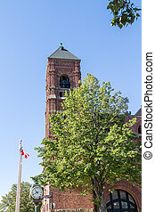 Brick Clock Tower in Charlottetown - A Brick Clock Tower in...