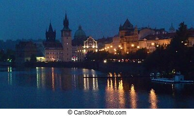 Prague at night - View to the Old Town in the center of...