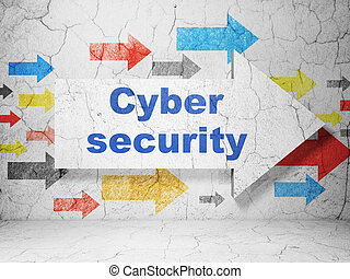 Protection concept: arrow with Cyber Security on grunge wall background