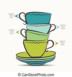 tea cup info-graphics design - creative tea cup and plate...