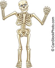 Skeleton Cartoon Waving Hands - Skeleton cartoon character...