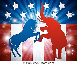 American Election Concept - A blue donkey and red elephant...