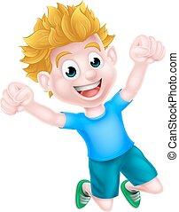 Happy Cartoon Boy Jumping - A happy cartoon boy jumping for...