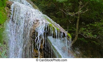 Picturesque Waterfall Dzhur Dzhur In Motion - CLOSE UP. This...
