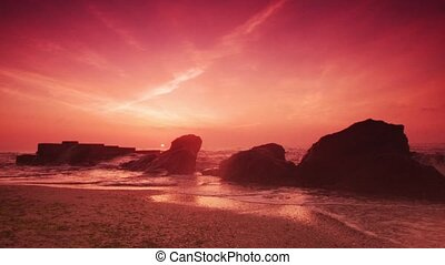 Sunrise at the sea - Beautiful red sunrise at the sea shore,...