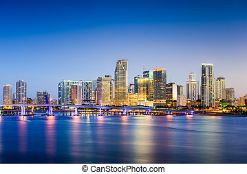 Miami, Florida Skyline - Miami, Florida, USA downtown...