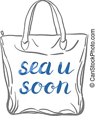 Sea u soon lettering. - Sea u soon. Brush hand lettering....