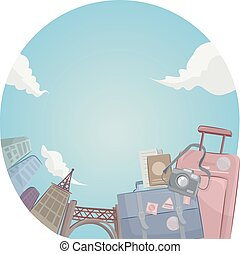Travel Bags - Illustration of a Pair of Traveling Bags...