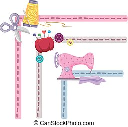 Sewing Borders - Border Illustration Featuring Sewing...