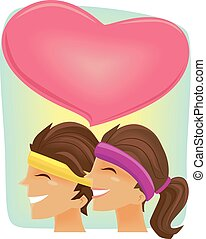 Couple Workout Heart - Illustration of a Couple Working Out...