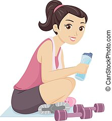 Teen Girl Workout Sweat - Illustration of a Teenage Girl...