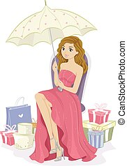 Teen Girl Gifts Celebrant - Illustration of a Pretty...