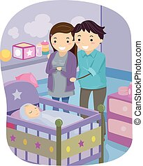 Couple Stickman Baby - Illustration of a Married Couple...