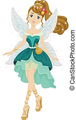 Teen Girl Fairy - Illustration of a Teenage Girl Dressed as...