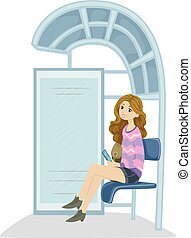 Teen Girl Bus Stop - Illustration of a Teenage Girl Waiting...