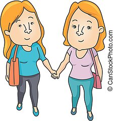 Couple Lesbian Hold Hands - Illustration of a Lesbian Couple...