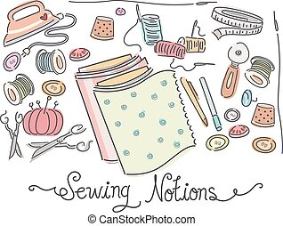 Sewing Notions - Colorful Illustration Featuring a Variety...