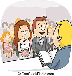 Couple Bride Groom Civil Wedding - Illustration of a Couple...