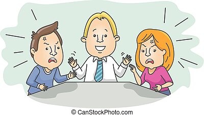 Couple Argue Mediator - Illustration of an Arguing Married...