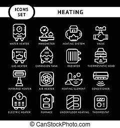 Set line icons of heating isolated on black Vector...