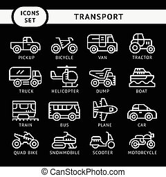 Set line icons of transport isolated on black Vector...
