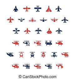 Set color icons of planes and helicopters isolated on white...