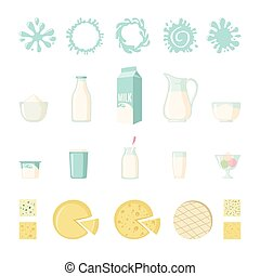 Set of dairy products in flat style isolated on white: milk,...