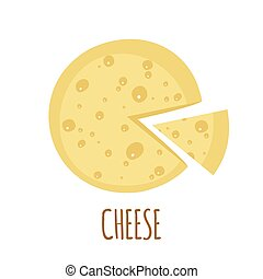 Cheese icon on white background - Cheese icon in flat style...