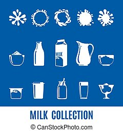 Set of dairy products in flat style - Set of dairy products...