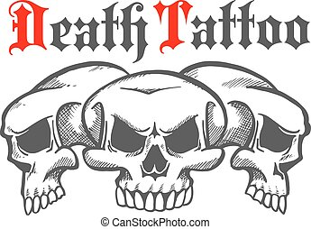Group of skulls for death tattoo - Group of skulls without...