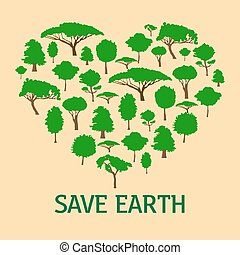 Heart in form of green trees. Save nature concept