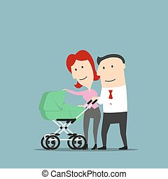 Father and mother over baby carriage