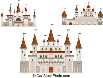 Medieval palaces or castles with towers and spires -...