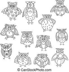 Funny owl silhouettes outline with cute feathering - Funny...