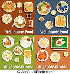 Vietnamese and singaporean cuisine dishes - Vietnamese and...