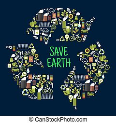 Save earth icons in shape of recycle sign - Save earth or...