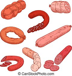 Sausage meat products like wurst or kielbasa Food made of...