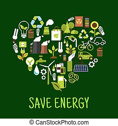 Save energy concept icons in shape of heart Ecological...