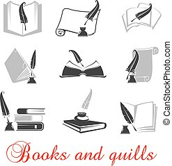 Manuscript, books with quills and ink