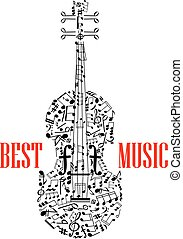 Notes and clefs in shape of violin or fiddle - treble and...